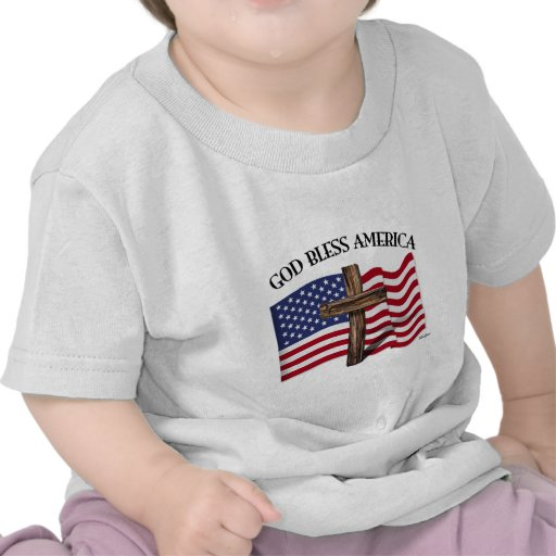 GOD BLESS AMERICA with rugged cross & US flag Tshirt