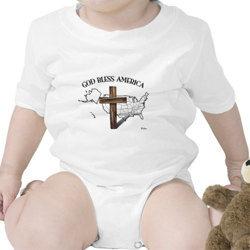 GOD BLESS AMERICA with rugged cross & US outline Tee Shirts