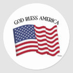GOD BLESS AMERICA with US flag Classic Round Sticker