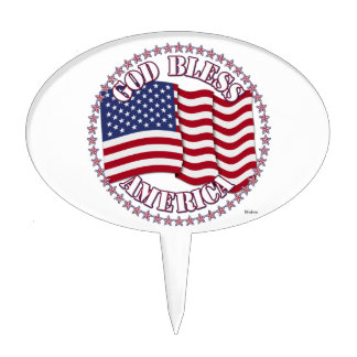 God Bless America With USA Flag And 50 Stars Cake Toppers