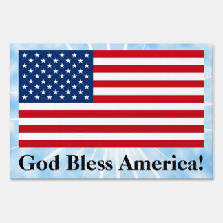 God Bless American Flag Lawn Yard Sign