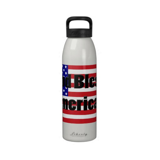 God Bless American Flag Liberty Water Bottle