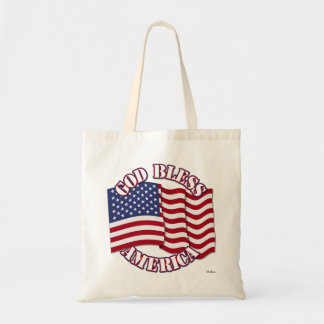 God Bless American with USA Flag Tote Bags