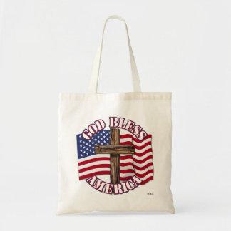 God Bless American with USA Flag & Cross Bag
