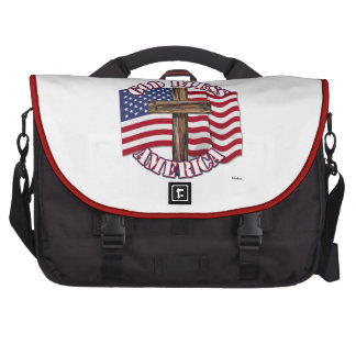 God Bless American with USA Flag & Cross Bag For Laptop