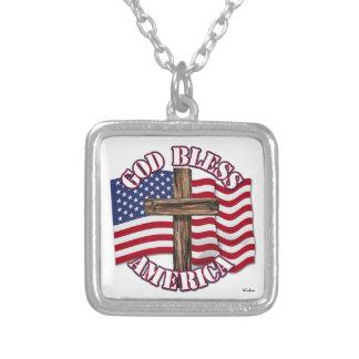 God Bless American with USA Flag & Cross Pendants
