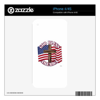 God Bless American with USA Flag & Cross Skin For The iPhone 4