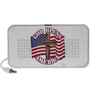 God Bless American with USA Flag Cross Notebook Speakers