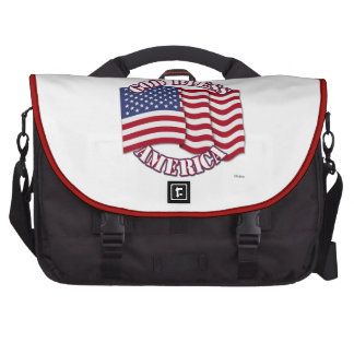 God Bless American with USA Flag Laptop Commuter Bag