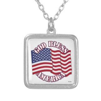 God Bless American with USA Flag Custom Necklace
