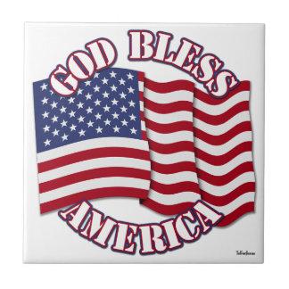 God Bless American with USA Flag Tile