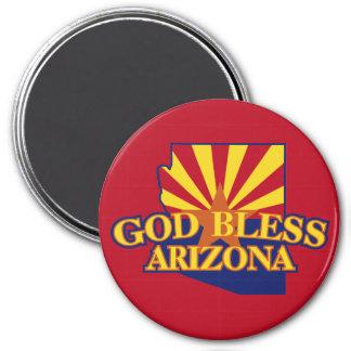 God Bless Arizona 3 Inch Round Magnet