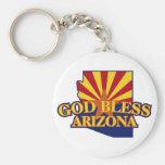 God Bless Arizona Basic Round Button Keychain