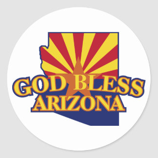 God Bless Arizona Classic Round Sticker