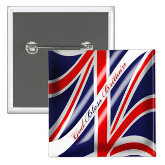 God Bless Brittain Union Jack Brittish Flag Button