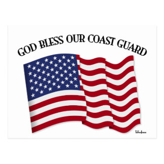 GOD BLESS COAST GUARD with & US flag Postcard