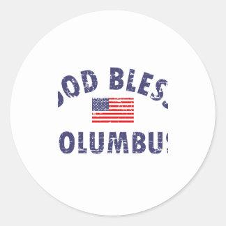 God bless COLUMBUS Classic Round Sticker