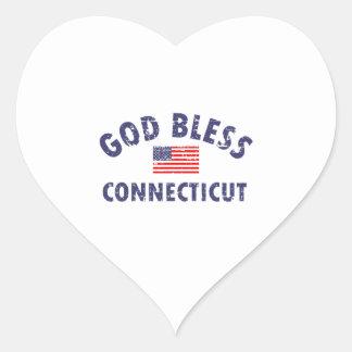 God bless CONNECTICUT Heart Sticker