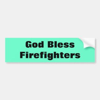 God Bless Firefighters Bumper Sticker