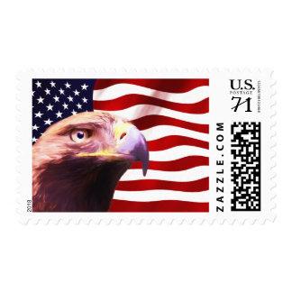 God Bless Golden Eagle USA Flag Postal Stamp