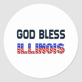 God Bless Illinois Classic Round Sticker
