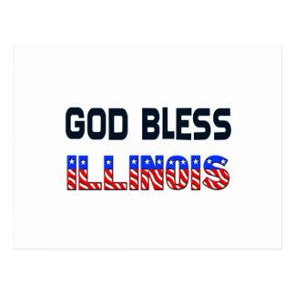 God Bless Illinois Postcard