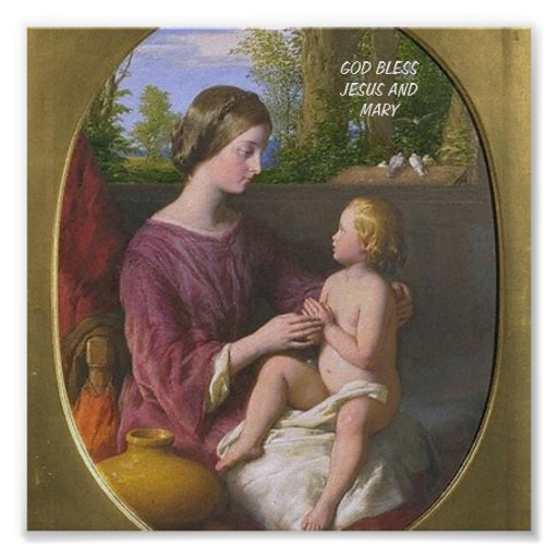 GOD BLESS JESUS AND MARY POSTER