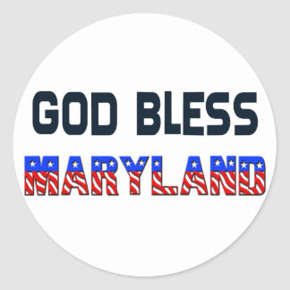 God Bless Maryland Classic Round Sticker