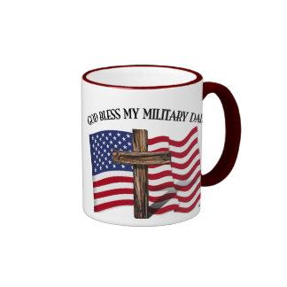GOD BLESS MY MILITARY DAD, rugged cross & US flag Ringer Coffee Mug