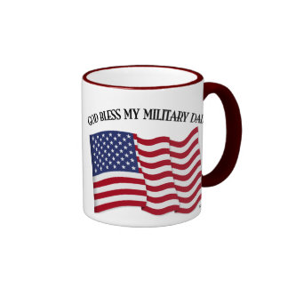 GOD BLESS MY MILITARY DAD with US flag Ringer Coffee Mug