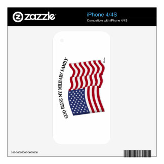 GOD BLESS MY MILITARY FAMILY with US flag Decal For iPhone 4S