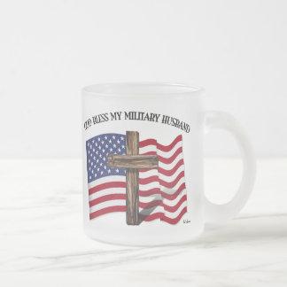 GOD BLESS MY MILITARY HUSBAND rugged cross US flag Frosted Glass Coffee Mug