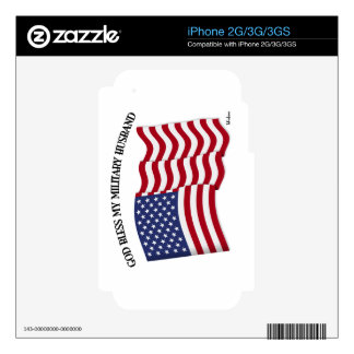 GOD BLESS MY MILITARY HUSBAND with US flag Decal For The iPhone 3GS