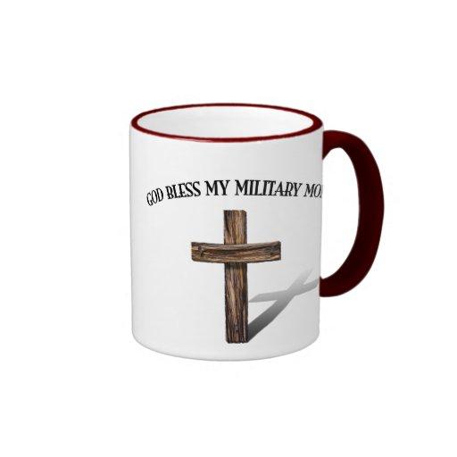 GOD BLESS MY MILITARY MOM with rugged cross Ringer Coffee Mug