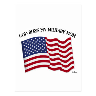 GOD BLESS MY MILITARY MOM with US flag Postcard