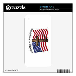 GOD BLESS MY MILITARY SON, rugged cross & US flag iPhone 4S Decals