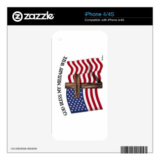 GOD BLESS MY MILITARY WIFE, rugged cross & US flag iPhone 4 Decals