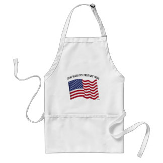 GOD BLESS MY MILITARY WIFE with US flag Adult Apron