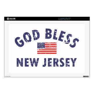"""God bless New Jersey Decal For 17"""" Laptop"""