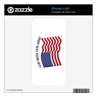 GOD BLESS OUR ARMY with US flag iPhone 4S Decals
