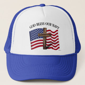 GOD BLESS OUR NAVY with rugged cross & US flag Trucker Hat
