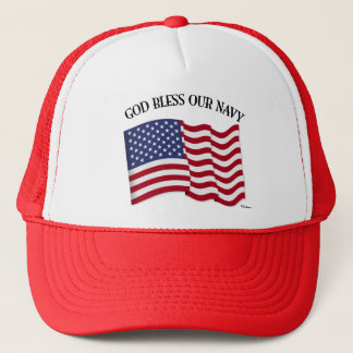 GOD BLESS OUR NAVY with US flag Trucker Hat