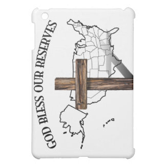 GOD BLESS OUR RESERVES, rugged cross & US outline iPad Mini Covers