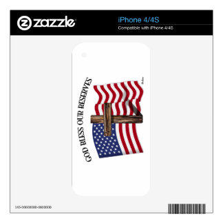 GOD BLESS OUR RESERVES with rugged cross & US flag Decals For The iPhone 4