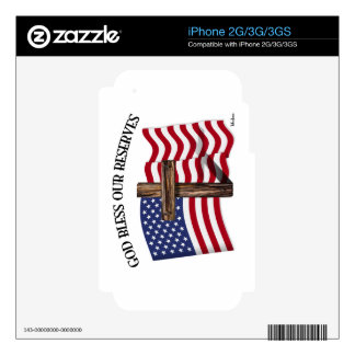 GOD BLESS OUR RESERVES with rugged cross & US flag Skins For The iPhone 3
