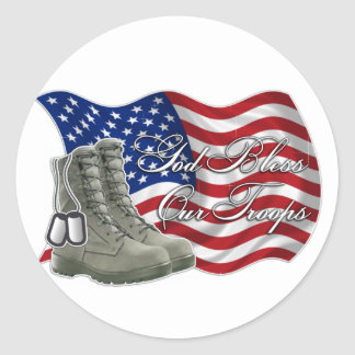 God bless our Troops Classic Round Sticker
