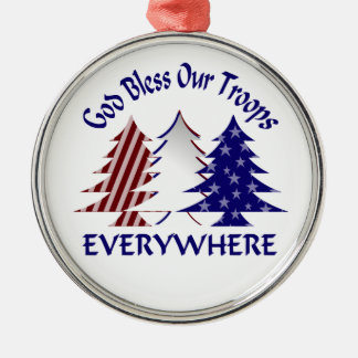 God Bless Our Troops Military Christmas Round Metal Christmas Ornament