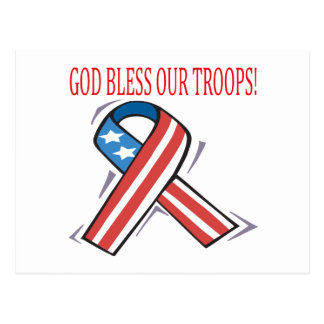 God Bless Our Troops Postcard