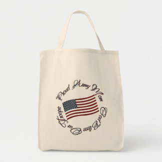 God Bless Our Troops, Proud Army Mom Grocery Tote Bag