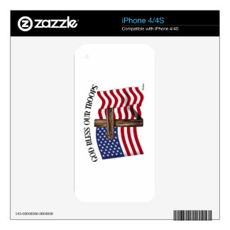 God Bless Our Troops with rugged cross and US flag Decal For The iPhone 4